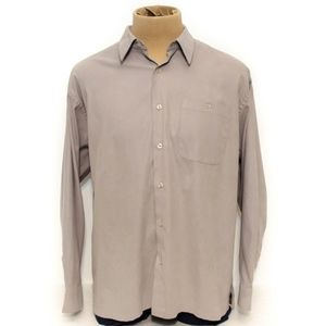 Sport Mens Shirt Long Sleeve Grey Button Up XL